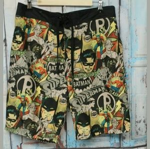 Men's XL Batman Comic Book Swimming Trunks Flash